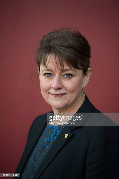 The leader of the political party Plaid Cymru Leanne Wood poses following a Welsh Leaders' debate hosted by the Federation of Small Businesses at...