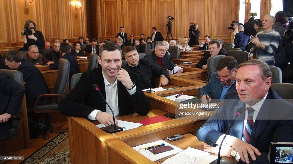 The leader of the Ukrainian Democratic Alliance for Reform Vitali Klitschko (C) and Ukraine's parliament of the Party of Regions leader Aleksandr Yefremov (R) attend at the meeting about consultations due to the ongoing political crisis in Kiev, Ukraine on February 24, 2014.