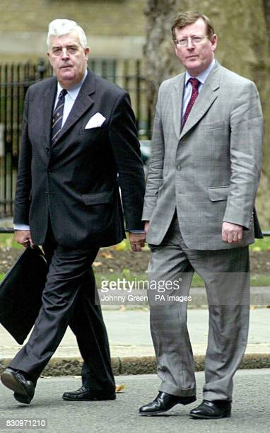 The leader of the Ulster Unionists David Trimble with fellow Unionist John Taylor arriving at No 10 Downing Street in central London for a meeting...