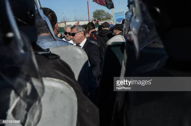 The leader of the United patriots party Valeri Simeonov in the centre Bulgarian Nationalists of the United Patriots blocked Bulgaria Turkish border...