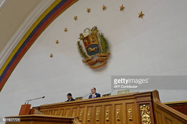The leader of the Venezuelan oppositioncontrolled parliament Julio Borges speaks during a session of the Venezuelan National Assembly in Caracas on...