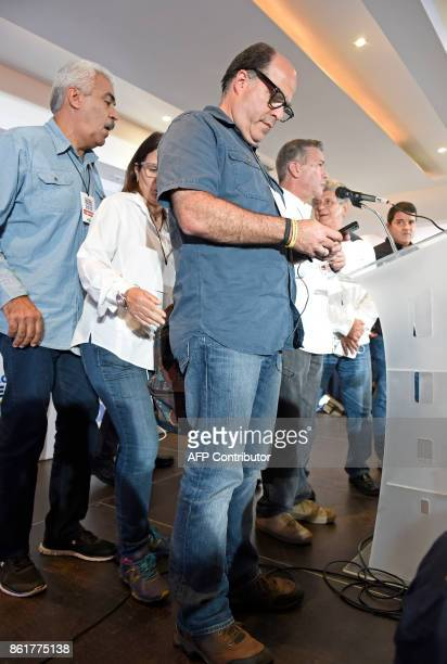 The leader of the Venezuelan oppositionheld National Assembly Julio Borges is pictured at the Democratic Unity Roundtable headquarters after the...