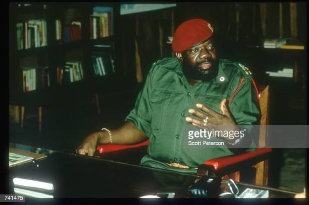 The leader of UNITA Dr Jonas Savimbi sits January 23 1990 near Jamba Angola The National Union for the Total Independence of Angola and the Marxist...