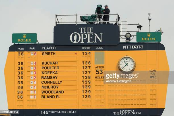 The leaderboard is seen at the start of the third round of the 146th Open Championship at Royal Birkdale on July 22 2017 in Southport England
