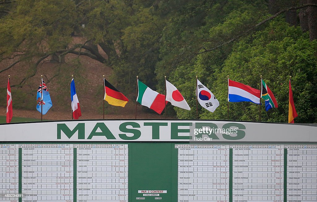 The leaderboard is seen during a practice round prior to the start of the 2014 Masters Tournament at Augusta National Golf Club on April 7, 2014 in Augusta, Georgia.