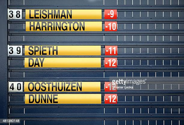The leaderboard is seen during the final round of the 144th Open Championship at The Old Course on July 20 2015 in St Andrews Scotland