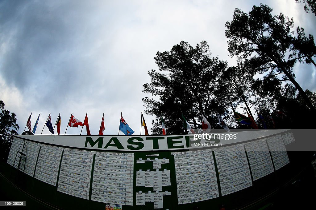 The leaderboard is seen during the second round of the 2013 Masters Tournament at Augusta National Golf Club on April 12, 2013 in Augusta, Georgia.