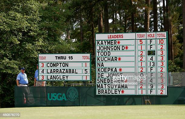 The leaderboard on the 17th green is seen during the second round of the 114th US Open at Pinehurst Resort Country Club Course No 2 on June 13 2014...