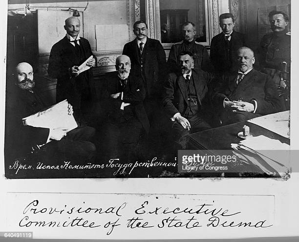 The leaders of Russia's State Duma Committee after the first revolution of 1917 The leader Kerensky is standing second from right others include Lvov...