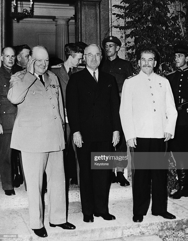 potsdam conference July 1945 - two month after the end of the war in europe and the allied victory over the german reich the three allied leaders have come to germany to work.