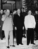 The leaders of the Big Three during the Potsdam Conference at the Cecilienhof Palace Potsdam Germany August 1945 Left to right British Prime Minister...