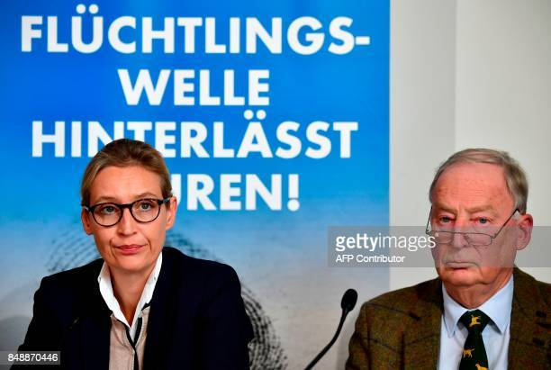 The leading candidates of the antiimmigration and Islamophobic party AfD Alexander Gauland and Alice Weidel address a press conference about...