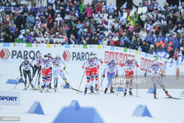 The leading group with Charlotte Calla Heidi Weng Marit Bjoergen and Astrid Uhrenholdt Jacobsen during Ladies crosscountry 30 km Mass Start Free...