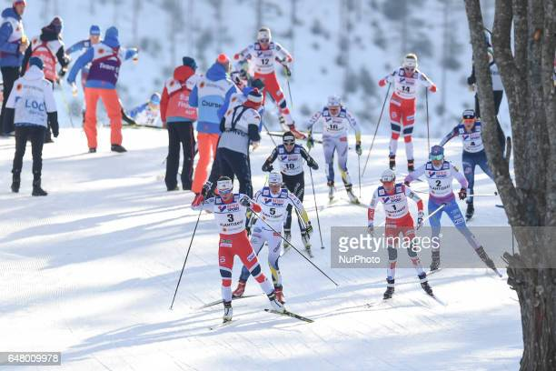 The leading group with Marit Bjoergen and heidi Weng during Ladies crosscountry 30 km Mass Start Free final at FIS Nordic World Ski Championship 2017...