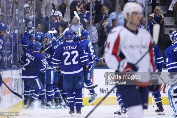 TORONTO ON APRIL 17 The Leafs celebrate as they beat the Washington Capitals 43 in overtime in game three of their NHL first round playoff at the Air...