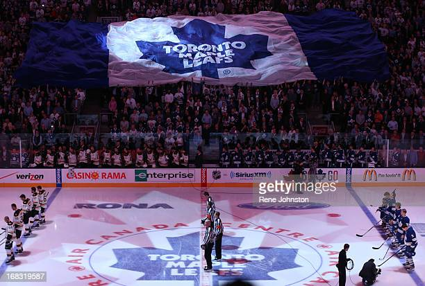 TORONTO ON MAY 8 The Leafs logo flag in the crowd during the anthems The Leafs logo flag in the crowd during the anthems before the Leafs vs Bruins...