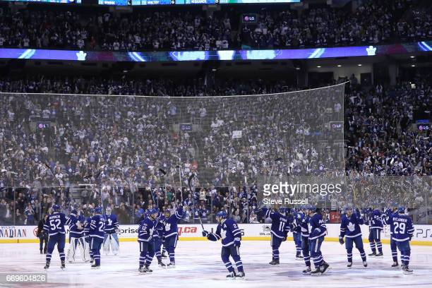 TORONTO ON APRIL 17 The Leafs salute the fans as the Toronto Maple Leafs beat the Washington Capitals 43 in overtime in game three of their NHL first...