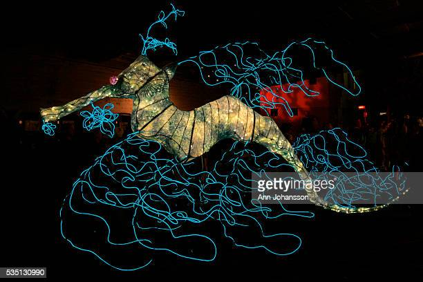 The Leafy Sea Dragon sculpture by artist Sean Sobczak stands on display at the Los Angeles Burning Man in Los Angeles