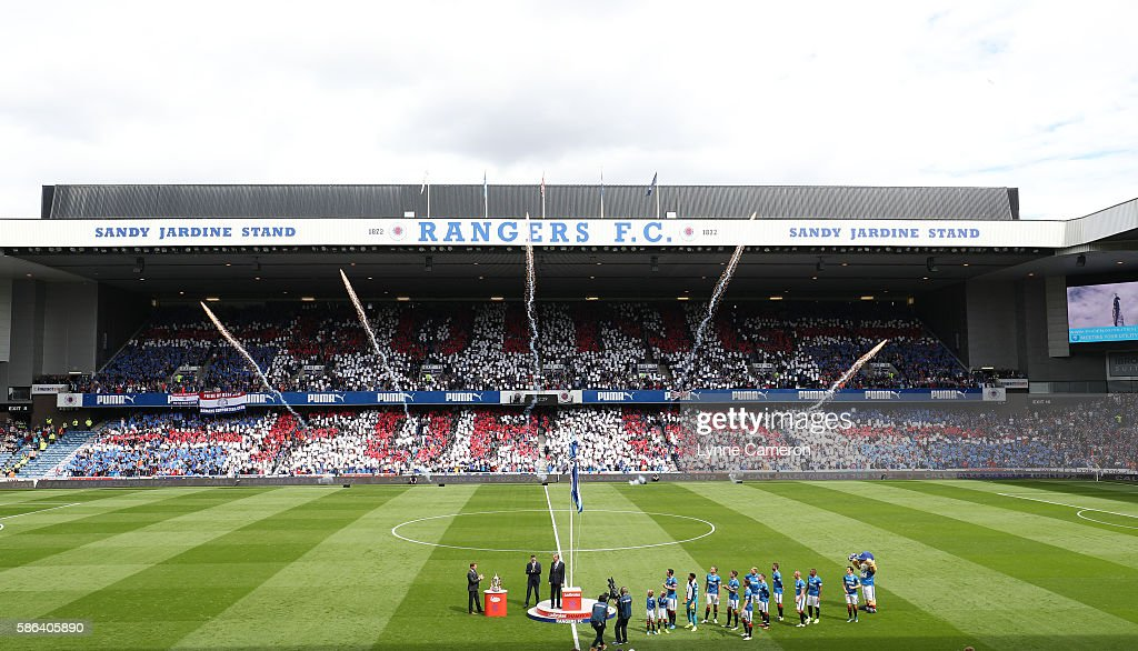 The League flag is unfurled before the Ladbrokes Scottish Premiership match between Rangers and Hamilton Academical at Ibrox Stadium on August 6, 2016 in Glasgow, Scotland.
