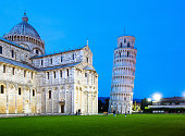 The Duomo and Leaning Tower of Pisa at dusk, Campo dei Miracoli, Pisa, Italy, Europe