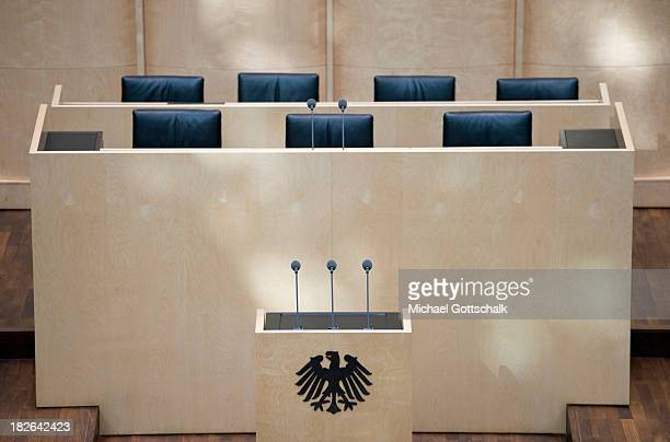 The lectern in the parlamentary room in the Bundesrat Germany's second house of parliament on October 02 2013 in Berlin Germany