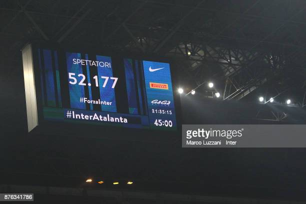 The LED board during the Serie A match between FC Internazionale and Atalanta BC at Stadio Giuseppe Meazza on November 19 2017 in Milan Italy