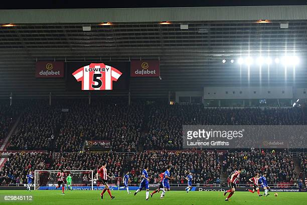 The LED screen shows a message of surport for Bradley Lowrey during the Premier League match between Sunderland and Chelsea at Stadium of Light on...