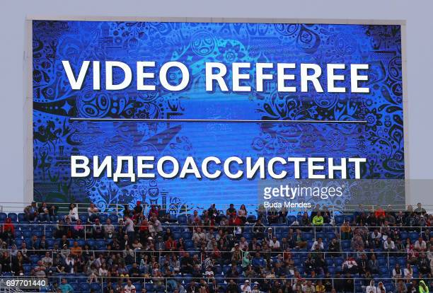 The LED screen shows the VAR message during the FIFA Confederations Cup Russia 2017 Group B match between Australia and Germany at Fisht Olympic...