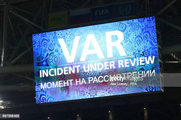 The LED Screen shows VAR during the FIFA Confederations Cup Russia 2017 Group B match between Cameroon and Chile at Spartak Stadium on June 18 2017...