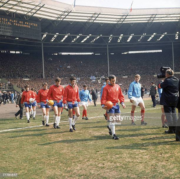 The Leeds United and Chelsea FC players come out at the start of the FA Cup Final at Wembley Stadium London 11th April 1970 Centre right is Chelsea...