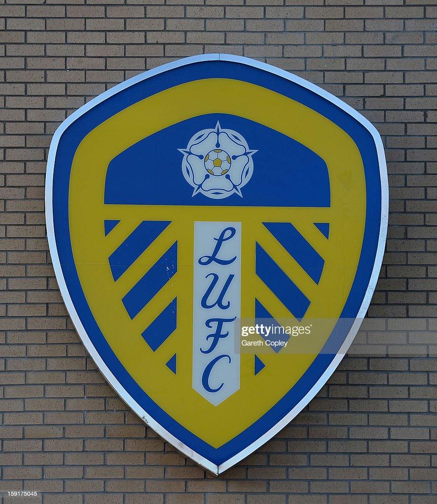 The Leeds United club badge outside Elland Road Stadium on January 9, 2013 in Leeds, United Kingdom.