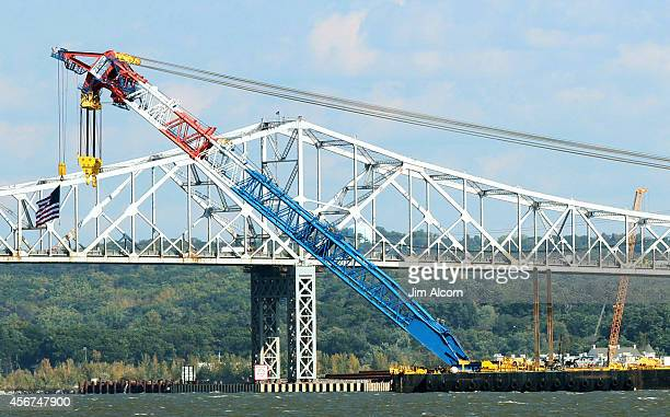 The Left Coast Lifter one of the world's largest floating cranes is put in position in front of the Tappan Zee Bridge on the Hudson River on October...