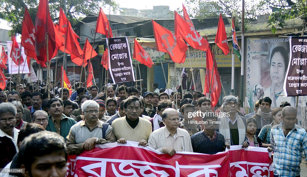 The Left Front took out a protest rally after the alleged physical assault on CPM MLA Abdur Rezzak Mollah at Bamunghata on January 8, 2013 in Kolkata, India. They also demanded the arrest of former Trinamool Congress MLA Arabul MLA Arabul Islam who allegedly led the attack on Mollah.