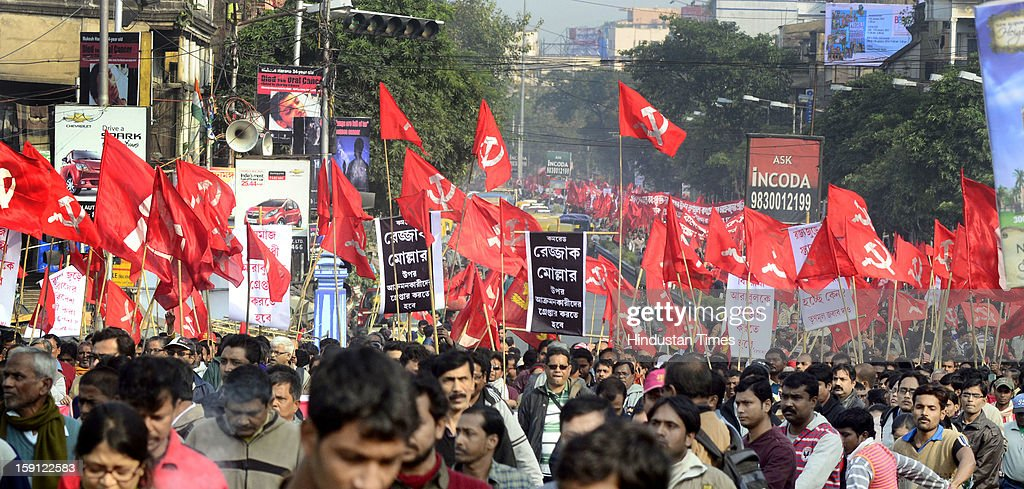The Left Front took out a protest rally after the alleged physical assault on CPM MLA Abdur Rezzak Mollah at Bamunghata on January 8, 2013 in Kolkata, India. They also demanded the arrest of former Trinamool Congress MLA Arabul Islam who allegedly led the attack on Mollah.
