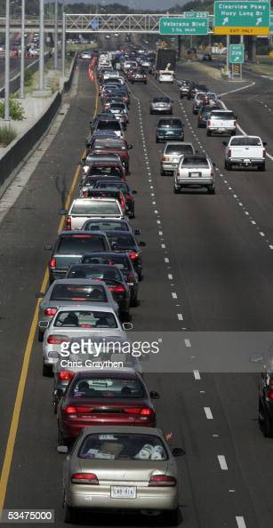 The left lane of Interstate 10 is backed up with motorists trying to merge onto both the east and westbound lanes of I10 to evacuate ahead of...