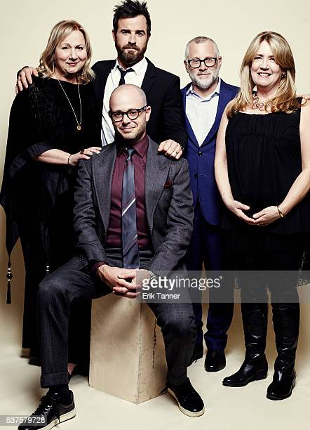 'The Leftovers' actors Ann Dowd Justin Theroux creators Damon Lindelof Tom Perrotta and producer/director Mimi Leder pose for a portrait at the 75th...