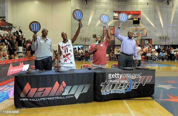 "The legendary Julius ""Dr J"" Erving Ball Up AllStars Player Air Up There actor Anthony Anderson and retired basketball player Cedric Ceballos judge..."