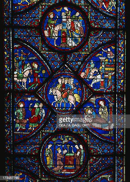The Legends of Charlemagne central section of the window with episodes of his life stained glass window Chartres Cathedral France