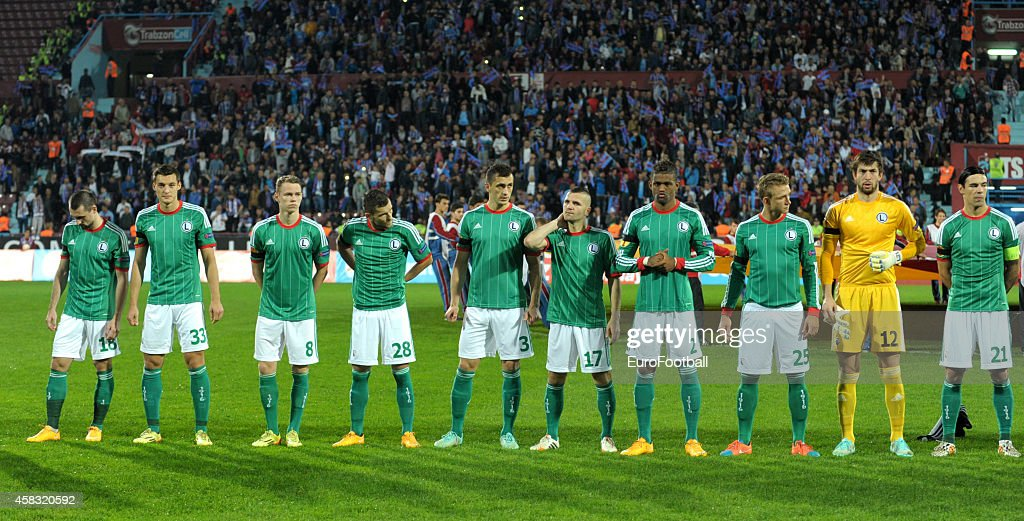 The Legia Warszawa players line up before the UEFA Europa League Group L match between Trabzonspor AS and Legia Warszawa at the Hüseyin Avni Aker...