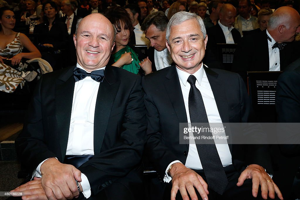 The Legion of Honor's Grand Chancellor General Jean-Louis Georgelin and President of the National Assembly <a gi-track='captionPersonalityLinkClicked' href=/galleries/search?phrase=Claude+Bartolone&family=editorial&specificpeople=551950 ng-click='$event.stopPropagation()'>Claude Bartolone</a> and his wife Veronique attend the AROP Charity Gala with play of 'La Traviata'. Held at Opera Bastille on June 5, 2014 in Paris, France.
