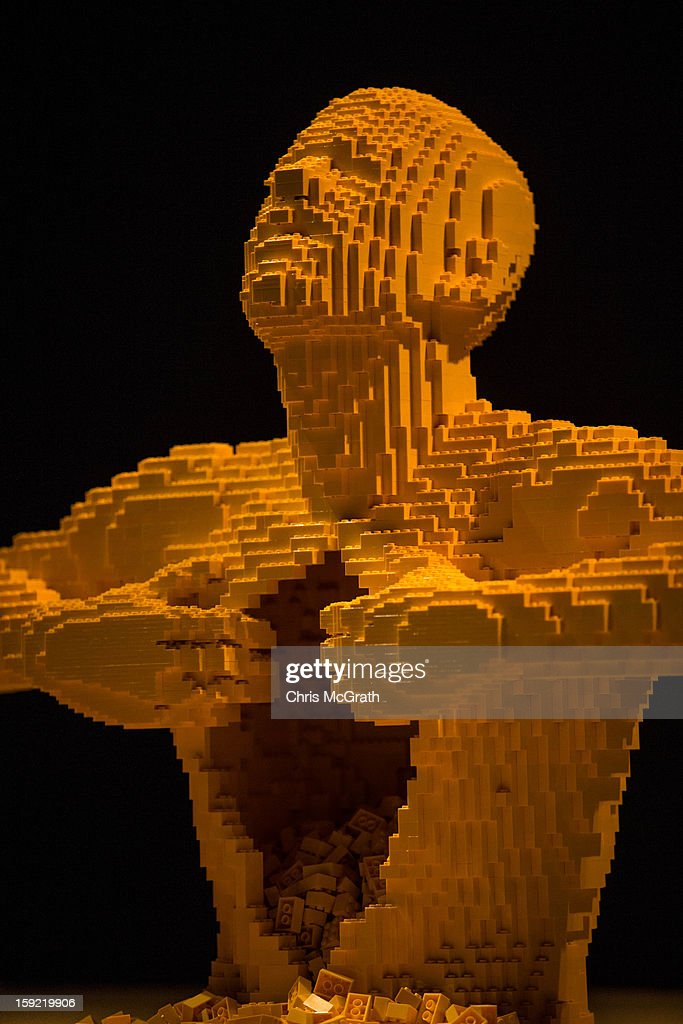 The Lego sculpture 'Yellow' is seen during the 'The Art of the Brick' exhibition on January 9, 2013 at the ArtScience Museum in Singapore. The exhibition by renowned New York based brick artist Nathan Sawaya features 52 large-scale LEGO brick sculptures and showcases two of the artists iconic pieces 'Yellow' and 'Swimmer'. It is the first time his work has been exhibited in South East Asia. The exhibit runs from 17 Nov 2012 to 14 April 2013.