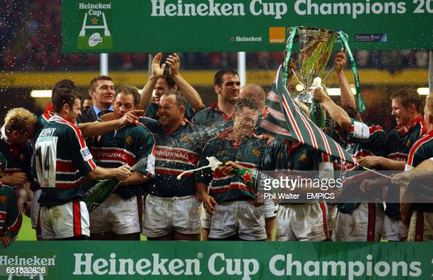 The Leicester Tigers crack open the champagne after beating Munster