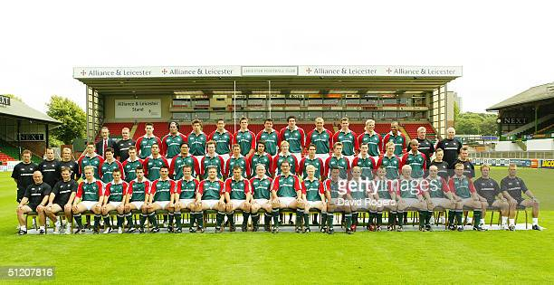 The Leicester Tigers Playing Squad pictured on July 21 2004 at Welford Road Leicester England