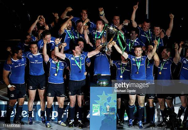 The Leinster players celebrate with the trophy following their victory at the end of the Heineken Cup Final match between Leinster and Northampton...