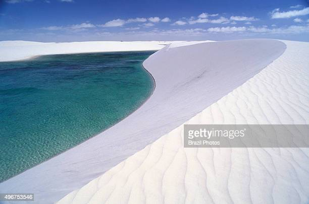 The Lencois Maranhenses National Park composed of large white sweeping dunes at first glance it looks like an archetypal desert but lying just...