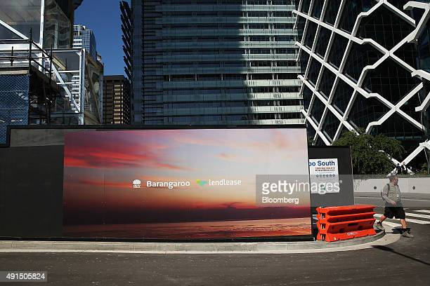 The Lend Lease Group logo is displayed on a building under construction on the site of the company's Barangaroo redevelopment in Sydney Australia on...