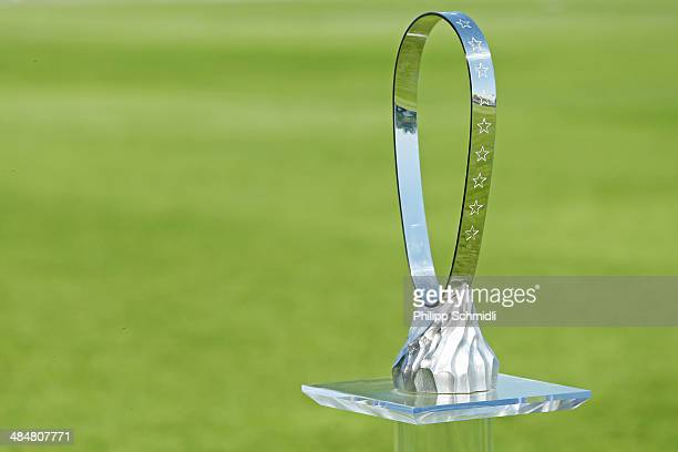 The Lennart Johansson trophy stands on the pitch prior to the UEFA Youth League Final match between SL Benfica and FC Barcelona at Colovray Stadion...