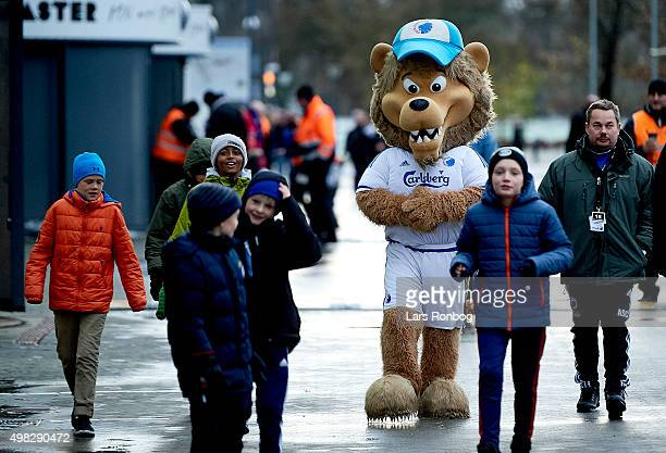 The Leo the Lion Mascot walks on to the stadium with fans of FC Copenhagen prior to the Danish Alka Superliga match between FC Copenhagen and Viborg...