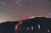 The Leonid meteor shower lights up the sky above China's Great Wall as stargazers brave the minus 20 degrees Celcius temperature and walk up the wall...