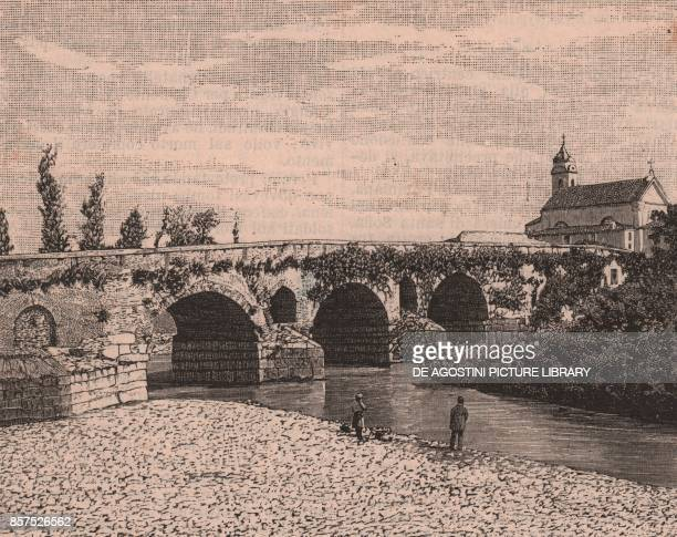 The Leproso bridge Benevento Campania Italy woodcut from Le Cento citta d'Italia illustrated monthly supplement of Il Secolo Milan 1891